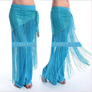 Belly-Dance-Costume-Sequins-Long-Tassel-Belly-Dance-Belt-Hip-Scarf-Wrap-9-colors
