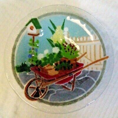 Peggy Karr Fused Glass Bowl Red Wheelbarrow Garden Flower Bird House in Box