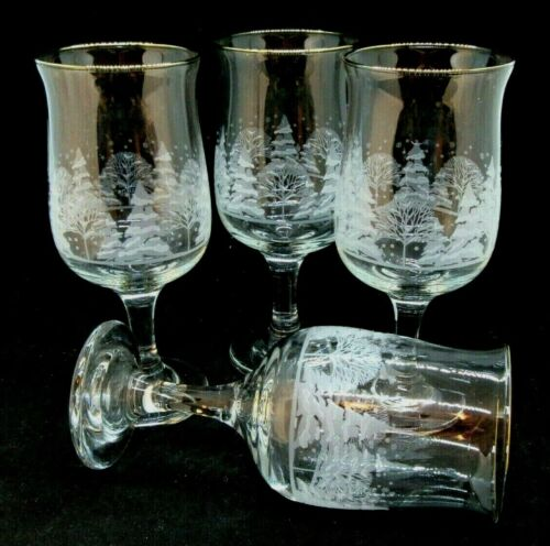 4 Arbys Christmas Winter White Frosted Goblets Libbey
