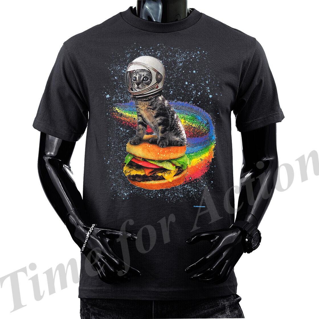 Rainbow Burger Cat Cat Graphic T-shirts