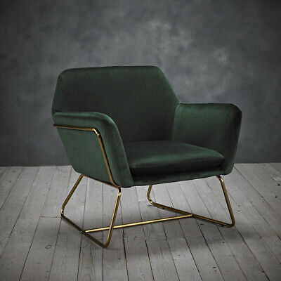 LPD Charles Armchair - Contemporary Vintage Gold Frame & Racing Green Velvet