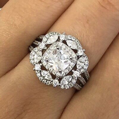 AAA 3 Ct Princess Lab Diamond Statement Ring Women Jewelry 14K White Gold Plated