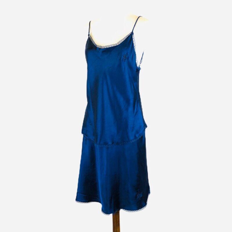 Vintage Olga Womens Camisole Cami Top Half Slip Set Blue Satiny Polyester 34A
