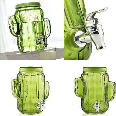 Dispensador de bebidas de vidrio Cactus 3,8 Litros,grifo,tapa con rosca metálica