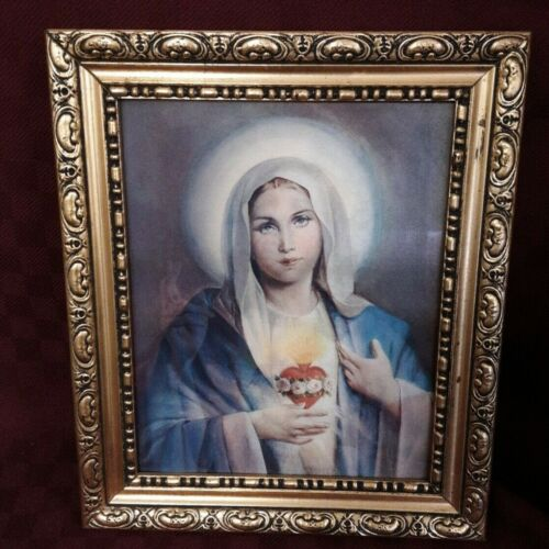 Framed Lenticular Holographic 3D Sacred Heart of Jesus & Mary 1947 Copyright