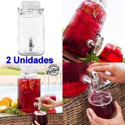 2 x Dispensador de Bebidas vidrio 4 L vintage,asa,grifo,sangría,cóctel,refresco