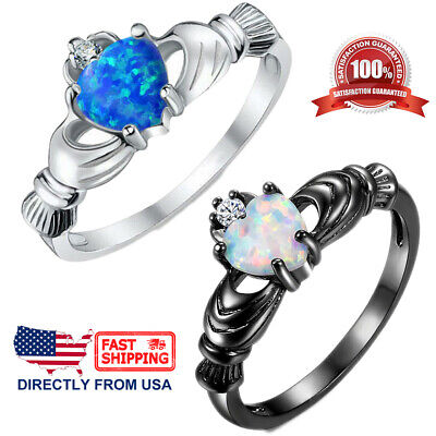 Women's Fire Opal Irish Claddagh Friendship Love Promise Engagement Ring (Opal-irish Ring)