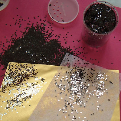 Nail Art Hexagon Glitter Graphite Black 2mm wide Metallic Spangles Large 50g Pot