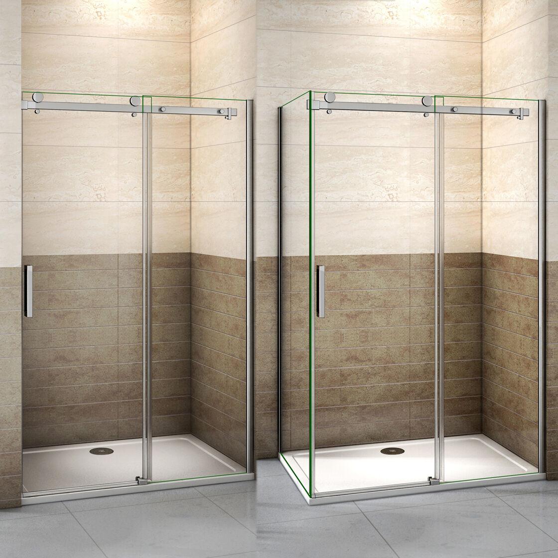 Duschabtrennung Duschkabine Schiebetür 8mm NANO Glas Duschwand Eckdusche Dusche