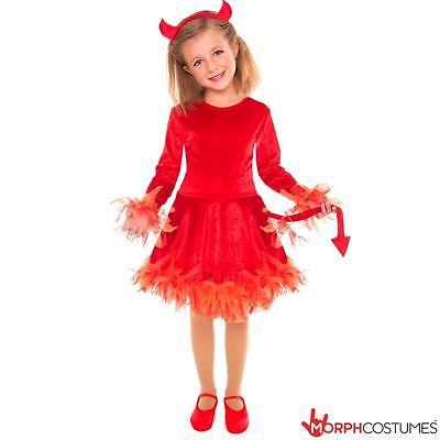 Girls Little Devil Fancy Dress Costume incl Horns & Tail Great for Halloween - Devil Horns For Halloween Costume
