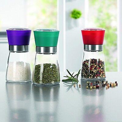 Gewürzmühlen mit hochwertigem Keramikmahlwerk Salzmühle Pfeffermühle im 3er-Set