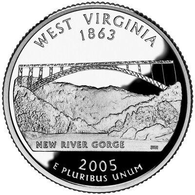 2005 S SILVER GEM PROOF WEST VIRGINIA STATE QUARTER 90% SILVER