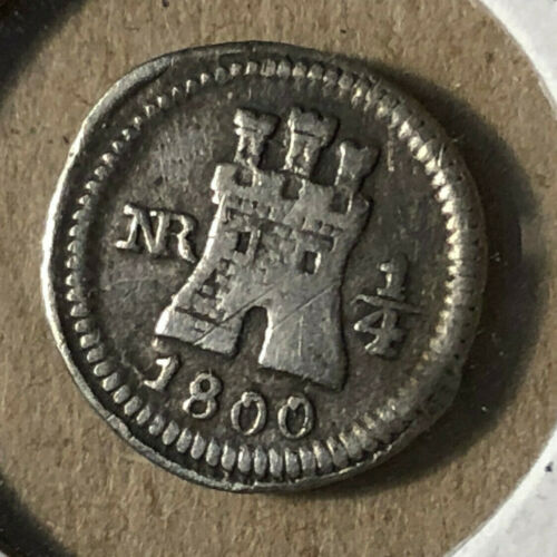 1800 Colombia NR 1/4 Real Silver Coin Rare XF+ Condition