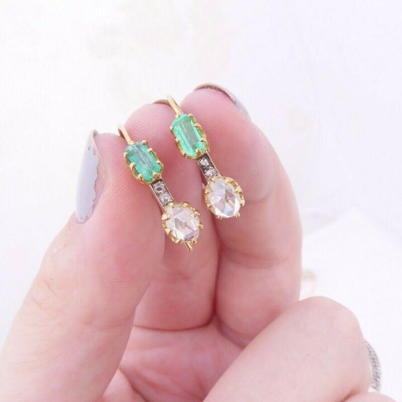 18ct gold 1.3ct diamond old mine rose cut diamond emerald earrings Victorian