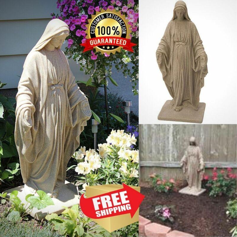 "Blessed Virgin Mary Statue Religious Sculpture 34"" Outdoor Garden Sandstone"