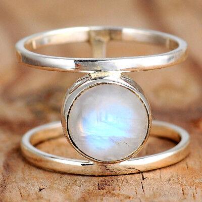 Rainbow Moonstone Ring Sterling Silver Women Boho Round Gems