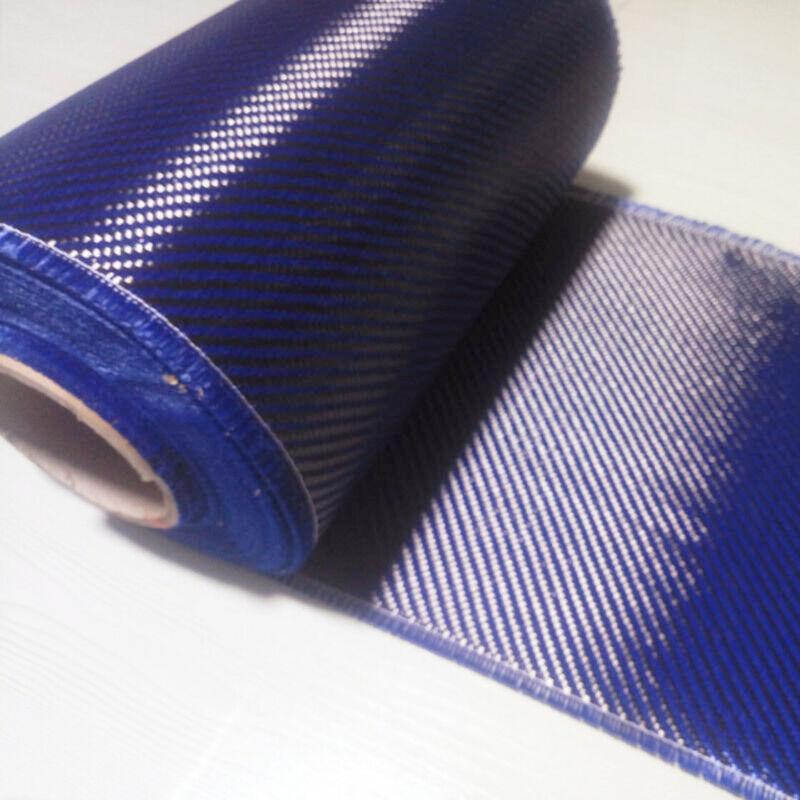 """Carbon fiber & Blue Aramid cloth mixed Carbon fabric Twill 200gsm 20""""/50cm wide"""