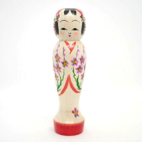 13cm Japanese Dento Kokeshi Doll Rika Komatsu (1969-) Plum Blossom