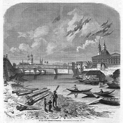 Magdeburg, neue eiserne Brücke Elbe, Original-Holzstich von 1863