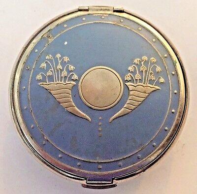 Vintage Art Deco RICHARD HUDNUT Polished Steel enameled Trifold Vanity Compact.