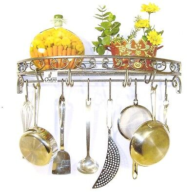 Iron Hammered Silver hand forged scroll wall pot rack  10 single & double hooks ()