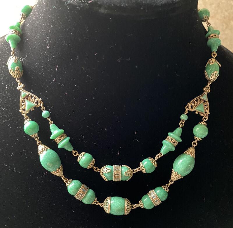 Vintage Art Deco Neiger Peking Glass & Ornate Brass Double Strand Necklace