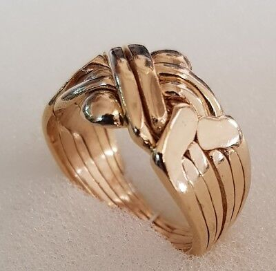 6 Ring Puzzle Ring (6 band Puzzle ring 14 carat Yellow Gold Plated BRASS  pusselring puslespil ring )