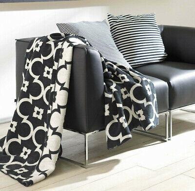 IBENA Sorrento Black & White Lattice Jacquard Oversized Throw Blanket