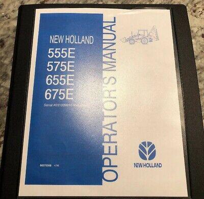 New Holland 555e 575e 655e 675e Backhoe Loader Operation Maintenance Manual Book