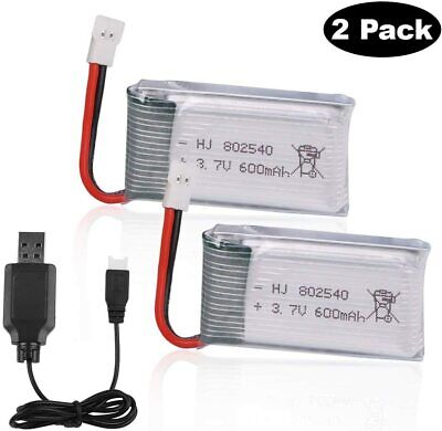2pcs 3.7V 600mAh 25C Lipo battery XH2.54 Puff with USB Charger for RC Quadcopter