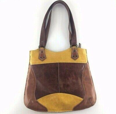 VERA PELLE Vintage Brown/Mustard/Cognac Soft Leather Hobo Purse Bag (Italy)