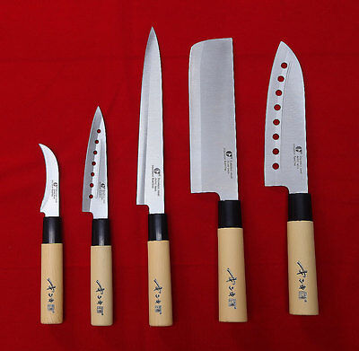 5 Knives Set Chef Kitchen Japan Knife Fruit Slicer Stainless Steel Cook Cutlery
