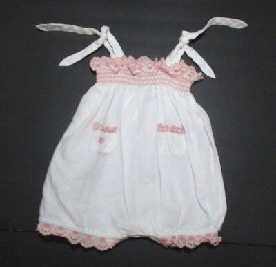GIRLS RALPH LAUREN WHITE & PINK EYELET TRIM SMOCKED LINEN BUBBLE OUTFIT 3 - Bubble White Girls