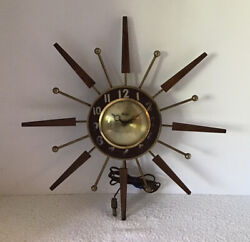 "VINTAGE MID CENTURY UNITED #204 STARBURST 16.5"" ELECTRIC WALL CLOCK WORKING HTF"