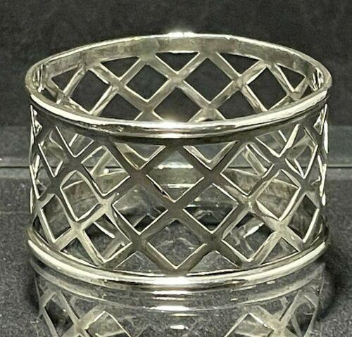 Sterling Silver Vintage Serviette Napkin Ring Round Lattice Design No Monogram