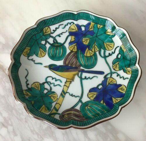 """Antique Japanese Signed Fuku Ko Kutani Porcelain Small Bowl Bird 6"""""""