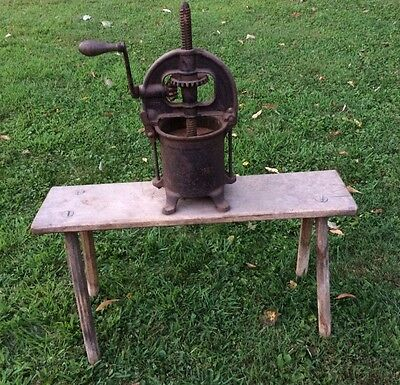 Antique Cast Iron Enterprise Mfg Co. Fruit Press Lard Press Sausage Stuffer