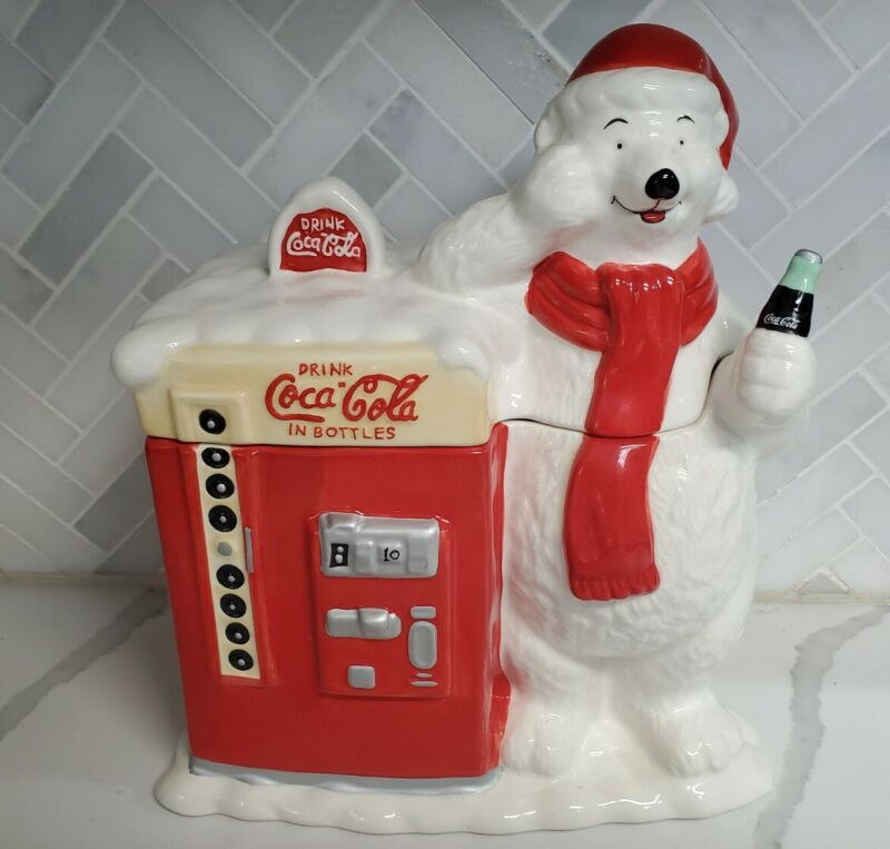 Vintage Coca Cola Polar Bear Vending Machine Ceramic Cookie Jar Houston Harvest