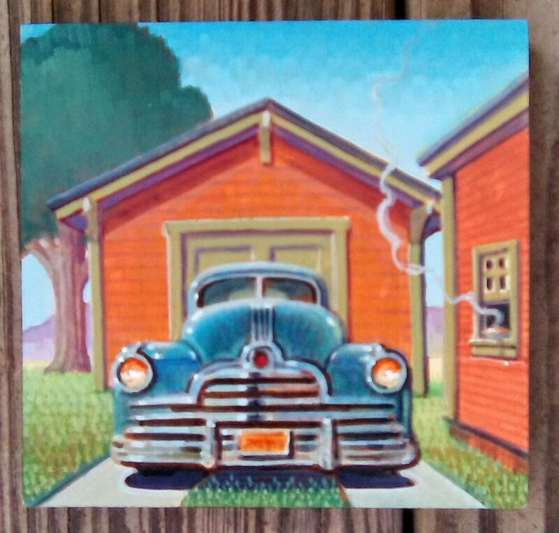 Original Robert Laduke Vintage Car Painting