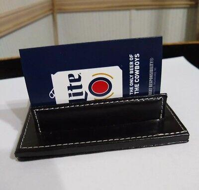 Genuine Leather Business Card Holder Desk Display - Black- By Barrington