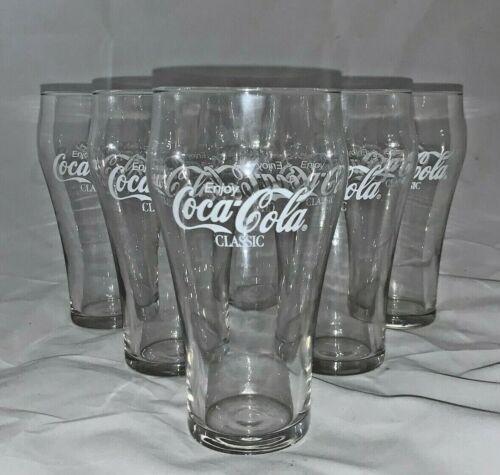 "Vintage Enjoy Coke Coca-Cola Classic Vintage Bell Glass Cup 7"" Clear Set Of 6"