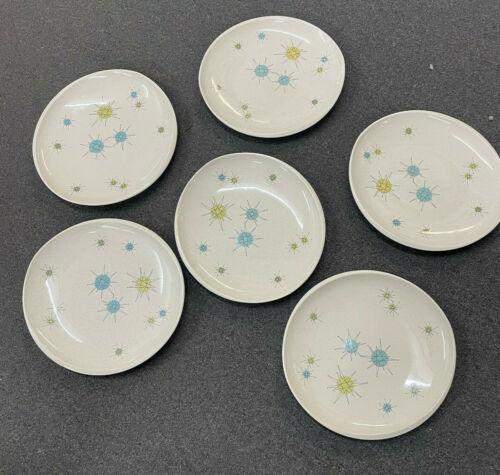 "Set of 6 Vintage Franciscan MCM Dinner Plates 10 3/4"" - Atomic Starburst Pattern"