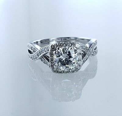 2.04 CTW GIA Round Brilliant SI1 Diamond Ring Halo Desighn White Gold