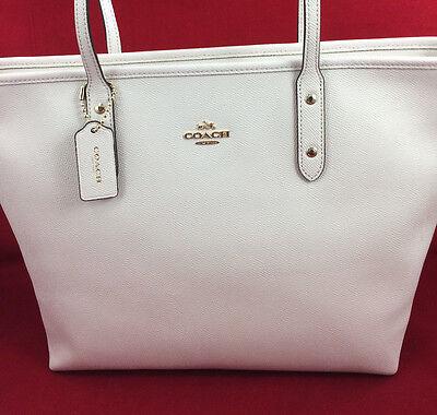 New Coach F58846 Crossgain Leather City Zip Tote Handbag Purse Bag Chalk White