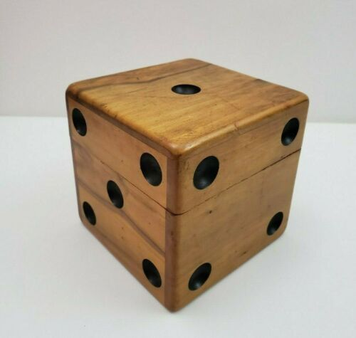 Rare Vintage Mid Century Dice Shaped Wood Box Poker Chip Storage Keepsake