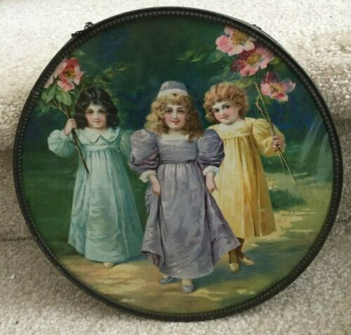 Old Germany Chimney Flue Cover 3 Young Girls Original Frame & Chain FREE SHIP