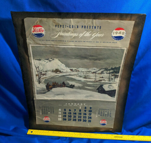 1948 Pepsi Cola January Calendar Bottle Cap Logo VTG Advertising Paintings of