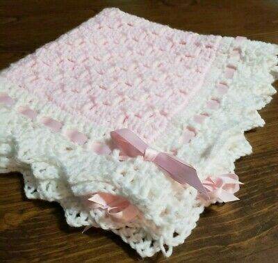 Doll Baby blanket 19 x19 Crochet soft pink and white Girl  homemade