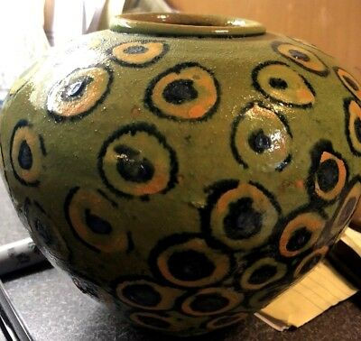 """Peacock"" Eye Vintage Mid-Century Modern Heavy Art Pottery Unusual Vase!"