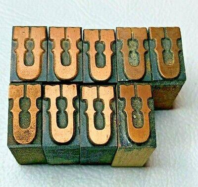 Set Of 9 Copper Letter U Letterpress Wood Print Block